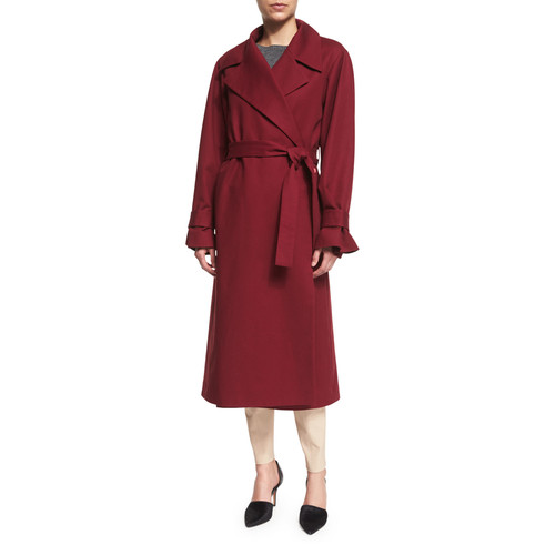 THE ROW Stretch-Woven Wrap-Front Trenchcoat, New Brick