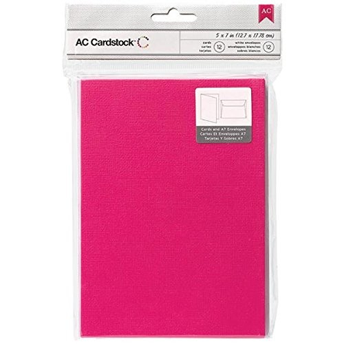 American Crafts A7 Cards and Envelopes, 5.25 by 7.25-Inch, Taffy, 12-Pack