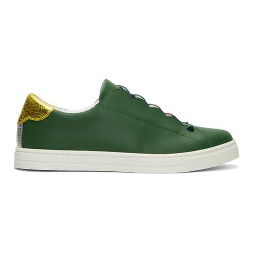 FENDI Green Logo Slip-On Sneakers
