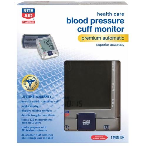 Rite Aid Health Care Blood Pressure Cuff Monitor Premium Automatic Superior Accuracy, 1 Count