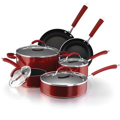 Farberware Millennium Colors Nonstick Aluminum 12-piece Red Cookware Set