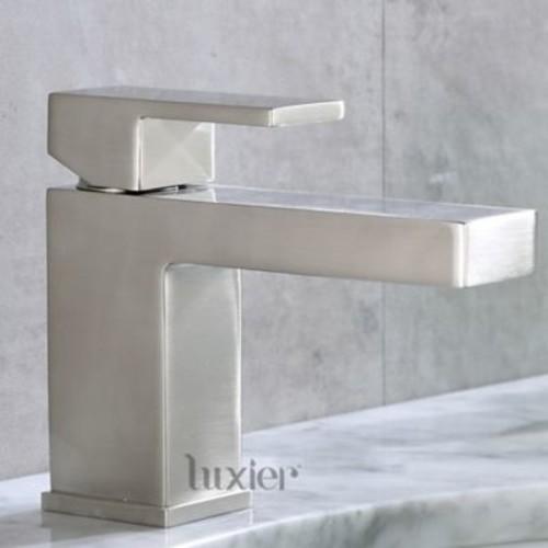 Luxier Hole Vanity Sink Lavatory Single Handle Standard Bathroom Faucet; Brushed Nickel