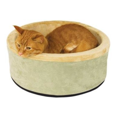 K&H Pet Products Thermo-Kitty Large Sage Heated Cat Bed