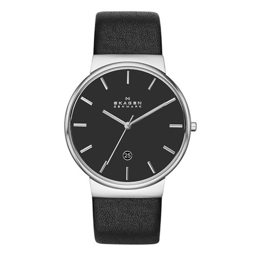 'Ancher' Round Leather Strap Watch, 40mm