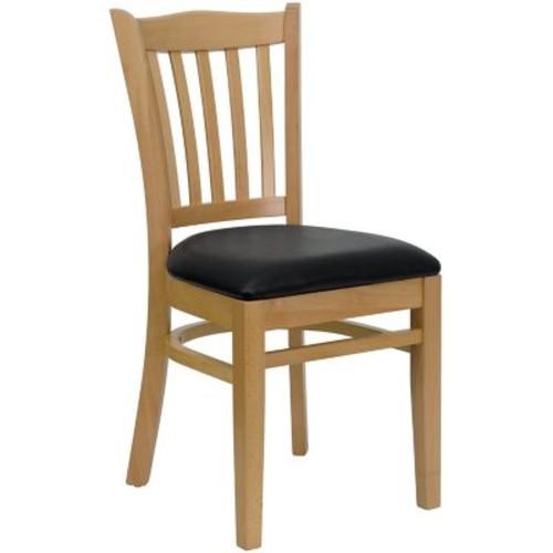 Flash Furniture HERCULES Series Natural Wood Vertical Slat Back Restaurant Chair, Black Vinyl Seat, 16/Pack