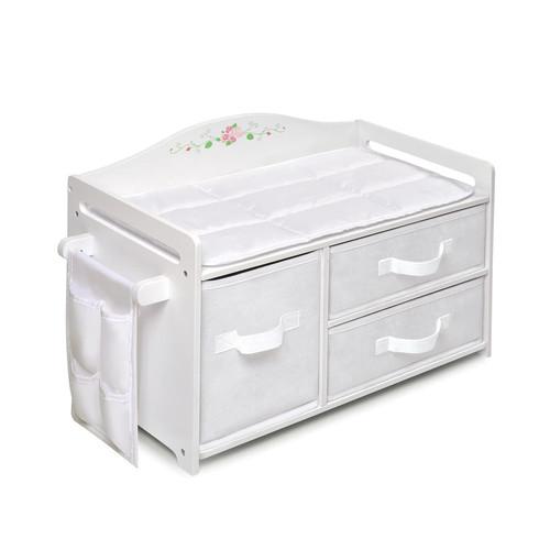 Badger Basket Toys 18 inch Doll Care Station - White Rose