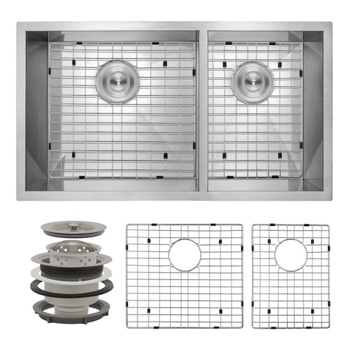 AKDY Handcrafted All-in-One Undermount Stainless Steel 32 in. x 18 in. x 9 in. Double Bowl Kitchen Sink