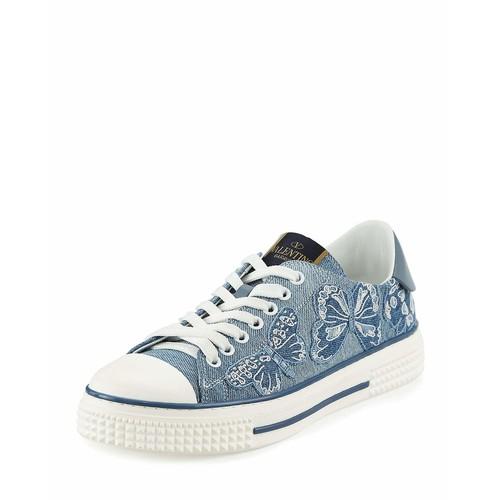 VALENTINO Butterfly-Embroidered Denim Sneaker, Light Denim