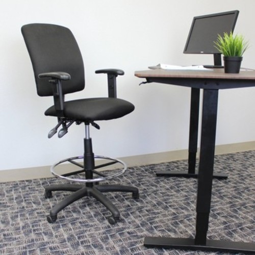 Multi-Function Fabric Drafting Stool with Adjustable Arms Black - Boss Office Products