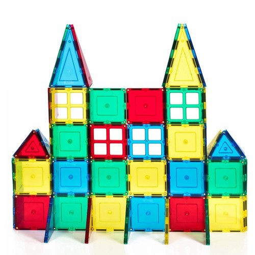ShapeMags Assorted Colors Plastic 60-piece 3-D Magnetic Tiles