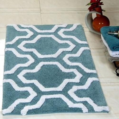 Saffron Fabs 2 Piece 100pct Soft Cotton Bath Rug Set; Arctic Blue/White