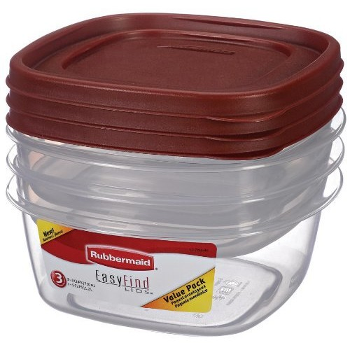 Rubbermaid Easy Find Lid Food Storage Container, BPA-Free Plastic, 6-Piece Set [3 cup & 5 cup, 6 piece]