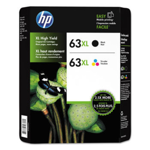 HP 63XL High Yield Ink Cartridge, Black & Tri-Color, Combo Pack
