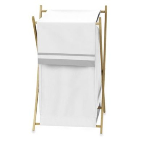 Sweet Jojo Designs Hotel Laundry Hamper in White/Grey