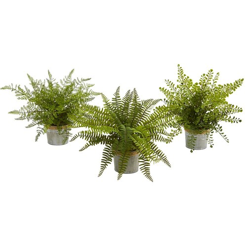 Nearly Natural 14 in. Assorted Ferns with Planter Artificial Plant (Set of 3)