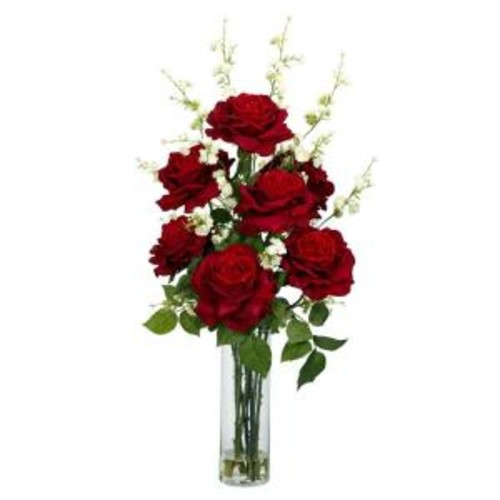 Nearly Natural Roses with Cherry Blossoms Silk Flower Arrangement in Red