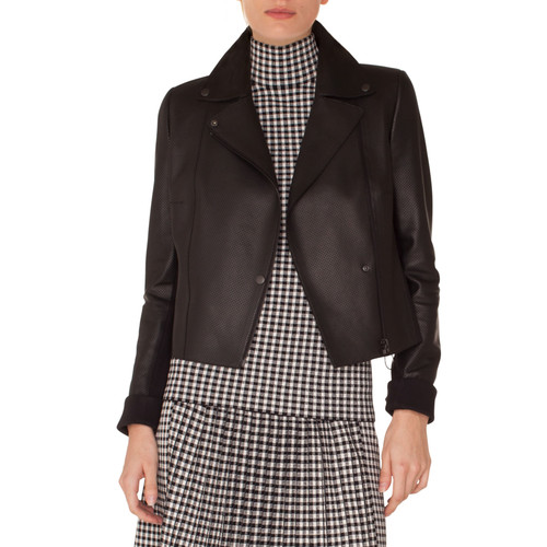 Zip-Front Perforated Leather Biker Jacket