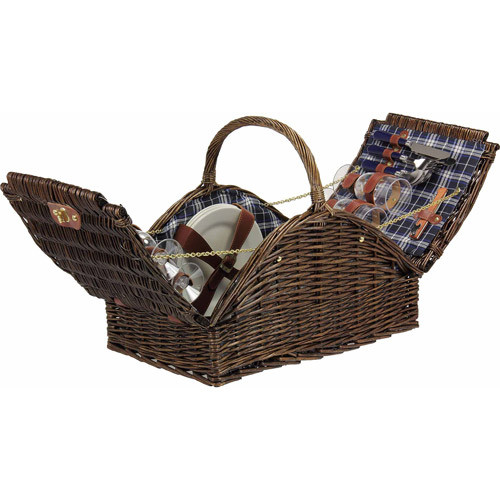 Household Essentials Woven Willow Picnic Basket, Square Shaped, Fully Lined, Service for 4 [Large Willow Basket with Accs.]