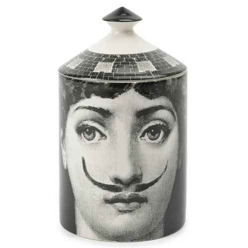 mustache portrait lidded candle