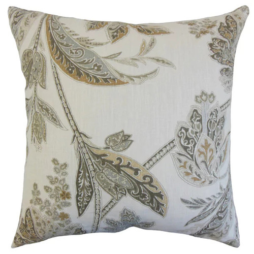 Taja Floral 22-inch Down Feather Throw Pillow Ash