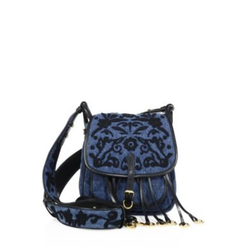 PRADA Bandoliera Floral-Embroidered Denim Shoulder Bag