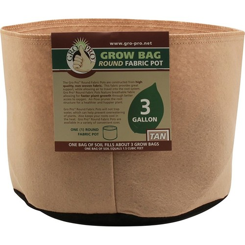 Sunlight Supply Gro Pro Grow Bag Round Fabric Pot  3-Gallon Capacity, Tan