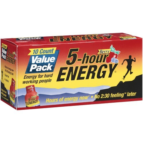 5 Hour Energy Berry Dietary Drink, Berry, 1.93oz, 10 Count, Pack of 10