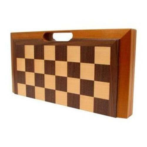 Trademark Global Trademark Games 3 in 1 Deluxe Wooden CHECKERS + BACKGAMMON + CHESS SET, Brown