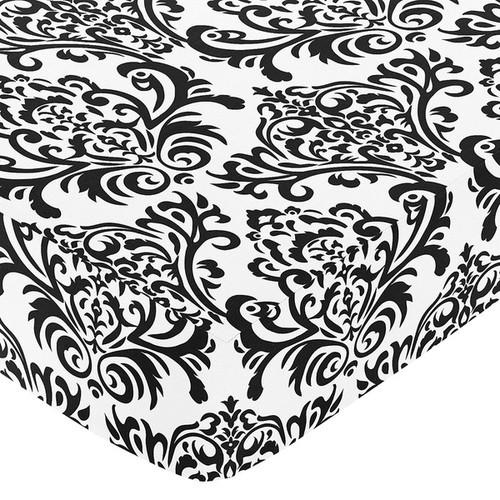 Sweet JoJo Designs Black and White Damask Isabella Fitted Crib Sheet