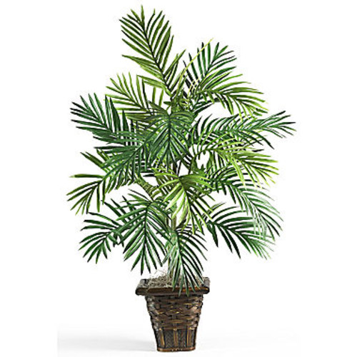 Nearly Natural Areca Palm Silk Plant with Wicker Basket