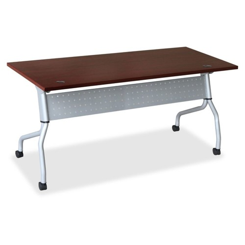 Lorell Mahogany Flip Top Training Table - Rectangle Top - Four Leg Base - 4 Legs - 23.60