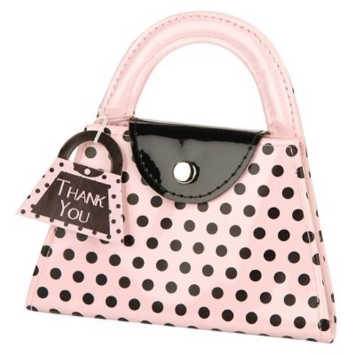 Kate Aspen 12-Piece Pink Polka Dot Purse Manicure Set Baby Shower Favors