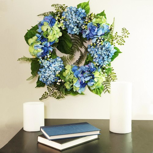 Northlight 24 in. Blue and Green Hydrangea and Berry Artificial Floral Wreath