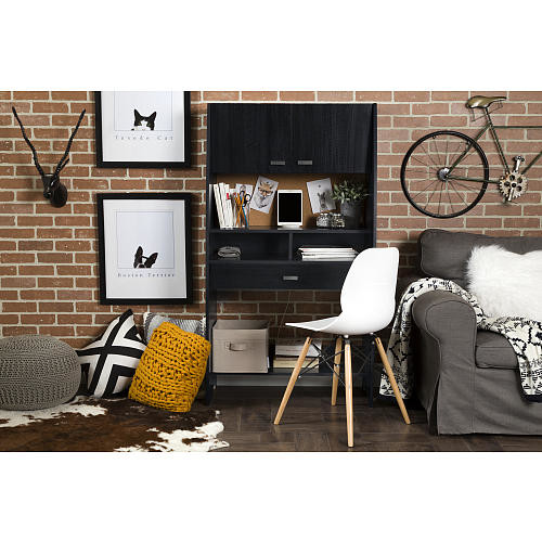 South Shore Furniture Reevo Desk with Hutch and Storage - Black Onyx