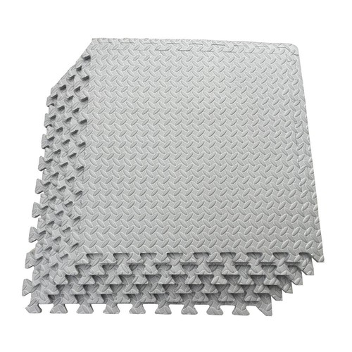 Ottomanson Multi-Purpose Grey 24 in. x 24 in. EVA Foam Interlocking Anti-Fatigue Exercise Tile Mat (6-Pack)