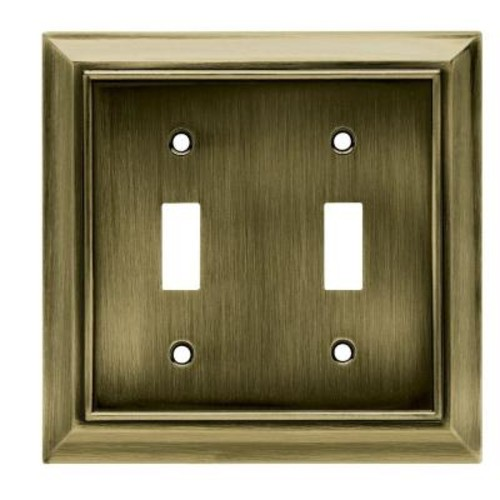 Hampton Bay Architectural Decorative Double Switch Plate, Antique Brass