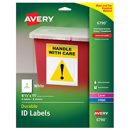 Avery Durable Permanent ID Labels, 8 1/2
