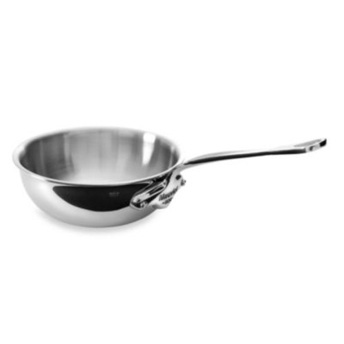 Mauviel M'cook 3.2 qt. Stainless Steel Curved Open Curved Splayed Saut Pan