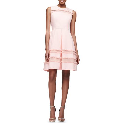 LELA ROSE Grace Full-Skirt Fringe-Trim Dress, Blush