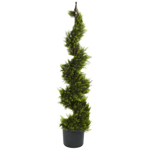 Nearly Natural 4 ft. Cypress Spiral Silk Tree