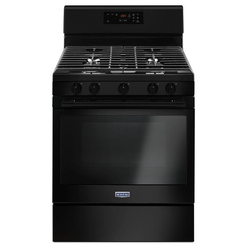 Maytag 30 in. 5.0 cu. ft. Wide Gas Range with 5th Oval Burner in Black