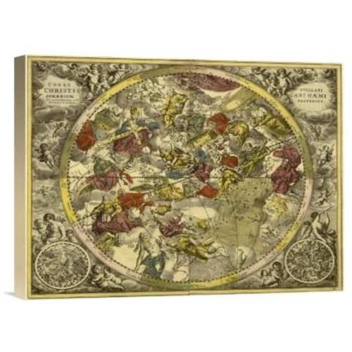 'Maps of the Heavens: Coelistellati Christianihaemi' Watercolor Painting Print on Canvas