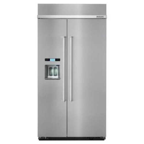 KitchenAid 42 in. W 25 cu. ft. Built-In Side by Side Refrigerator in Stainless Steel