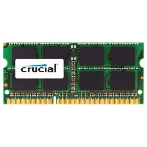 Crucial 2GB DDR3 SDRAM Memory Module - 2 GB (1 x 2 GB) - DDR3 SDRAM - 1333 MHz DDR3-1333/PC3-10600 - Non-ECC - Unbuffered - 204-pin SoDIMM