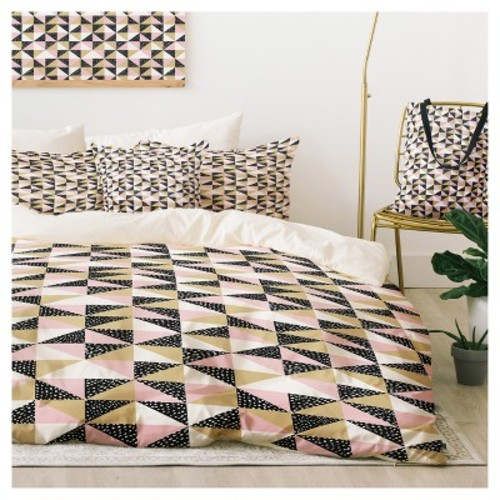 Pink Dash And Ash Triangle Outta Space Duvet Cover Set - Deny Designs