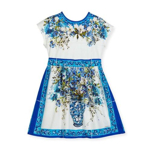 DOLCE & GABBANA Short-Sleeve Caltagirone Floral Dress, White, Size 8-12