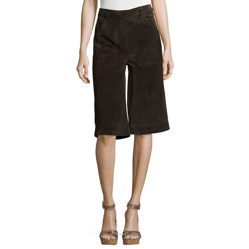 FRAME Le Gaucho Cropped Pants, Dark Brown