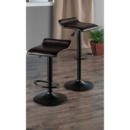 Winsome Paris PU Leather Seat Black Metal Base Air-lift Adjustable Swivel Stool (Set of 2)