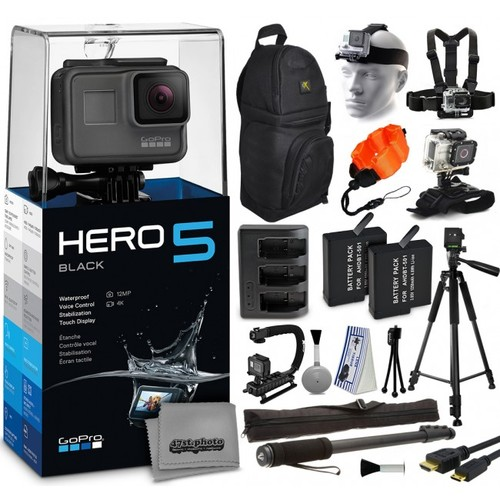 GoPro HERO5 Black with Backpack, Tripod, Action Grip, 2 Batteries & More