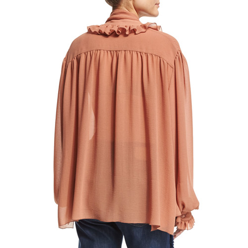 SEE BY CHLOE Long-Sleeve Oversized Ruffle-Trim Top, Dusty Pink